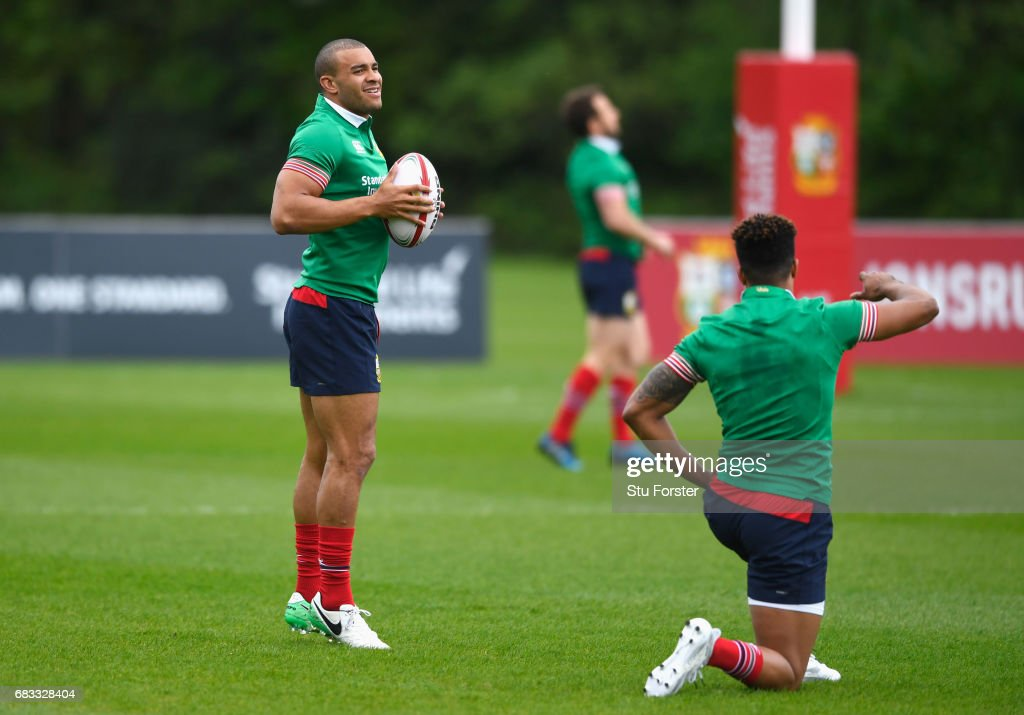 Jonathan Joseph looks on with Anthony Watson during a British and Irish Lions training session at Vale of Glamorgan on May 15, 2017 in Cardiff, Wales.
