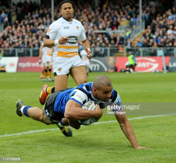 Jonathan `Joseph of Bath dives over for the first try during the Gallagher Premiership Rugby match between Bath Rugby and Wasps at Recreation Ground...