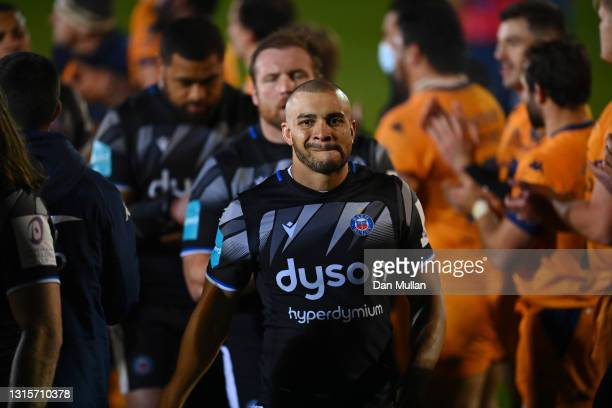 Jonathan Joseph of Bath looks dejected after the European Rugby Challenge Cup match between Bath Rugby and Montpellier at Recreation Ground on May...