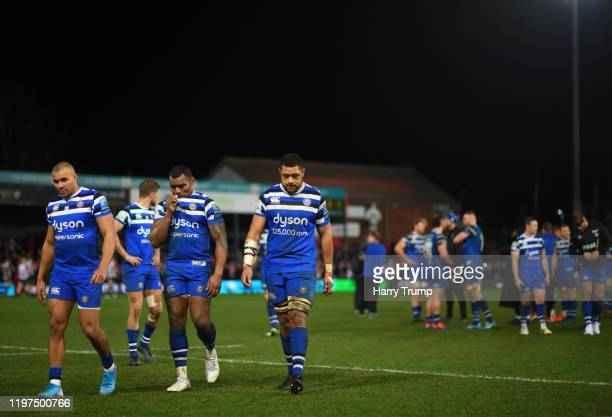 Jonathan Joseph of Bath Rugby, Semesa Rokoduguni of Bath Rugby and Taulupe Faletau of Bath Rugby react at the final whistle during the Gallagher...