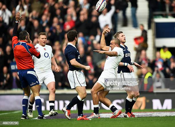 Jonathan Joseph of England celebrates after scoring the opening try the opening try during the RBS Six Nations match between England and Scotland at...