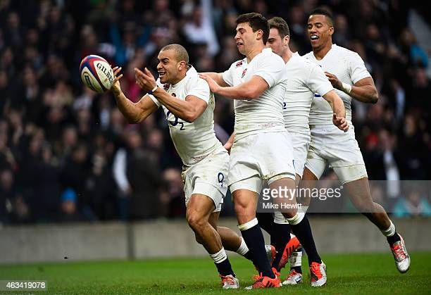 Jonathan Joseph of England celebrates scoring his team's second try during the RBS Six Nations match between England and Italy at Twickenham Stadium...