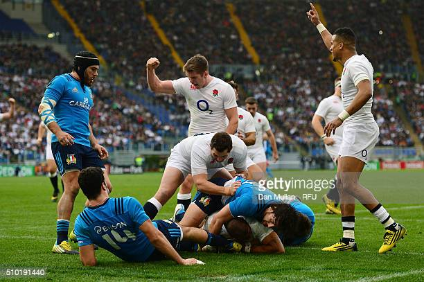 Jonathan Joseph of England crashes over the line to score his team's fourth try and complete his hat trickduring the RBS Six Nations match between...