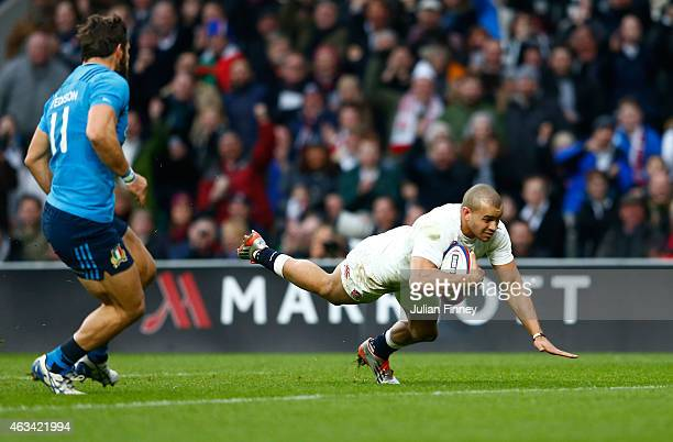 Jonathan Joseph of England goes over to score his second try during the RBS Six Nations match between England and Italy at Twickenham Stadium on...