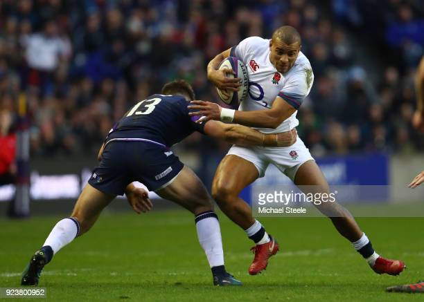 Jonathan Joseph of England runs at Huw Jones of Scotland during the NatWest Six Nations match between Scotland and England at Murrayfield on February...