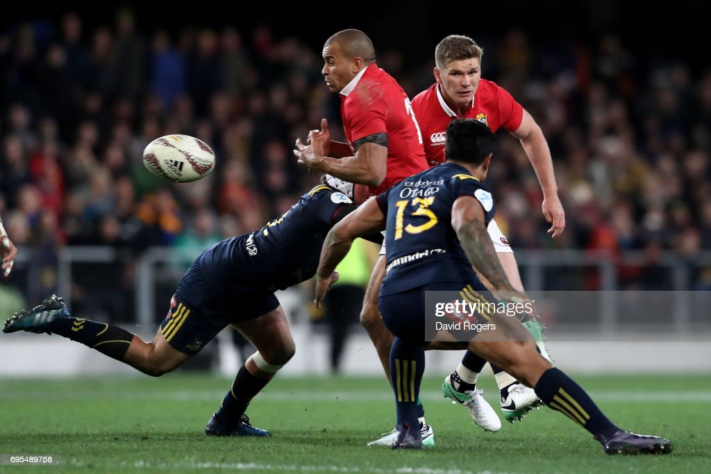Jonathan Joseph of the Lions knocks the ball on to bring an end to the Lions last attacking move during the 2017 British & Irish Lions tour match between the Highlanders and the British & Irish Lions at the Forsyth Barr Stadium on June 13, 2017 in Dunedin, New Zealand.