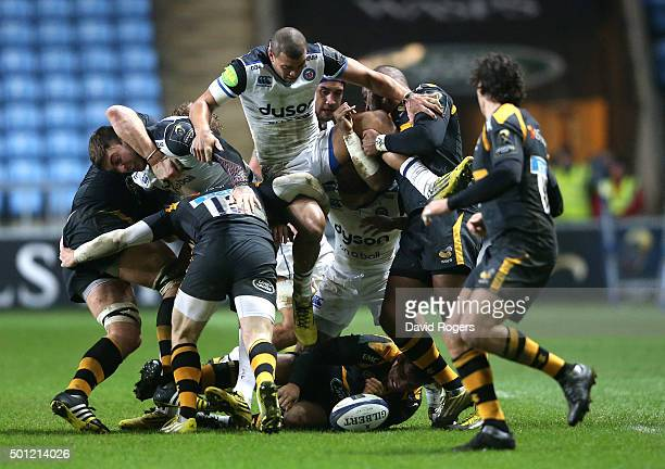 Jonathan Josesph of Bath is held up as he tries to gather the ball during the European Rugby Champions Cup match between Wasps and Bath at the Ricoh...