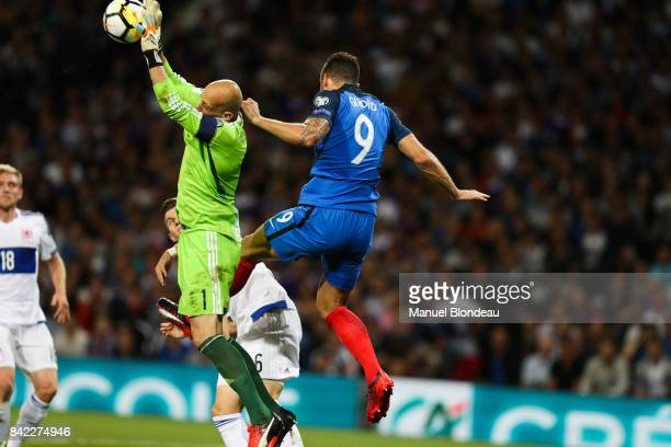 Jonathan Joubert of Luxembourg and Olivier Giroud of France during the Fifa 2018 World Cup qualifying match between France and Luxembourg at on...