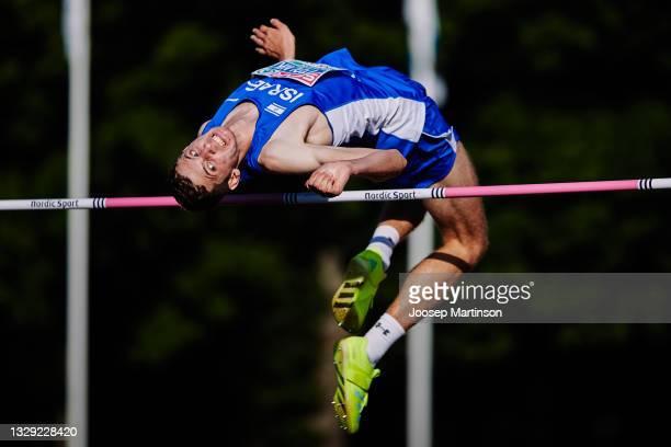 Jonathan Kapitolnik of Israel competes in the Men's High Jump Final during European Athletics U20 Championships Day 3 at Kadriorg Stadium on July 17,...