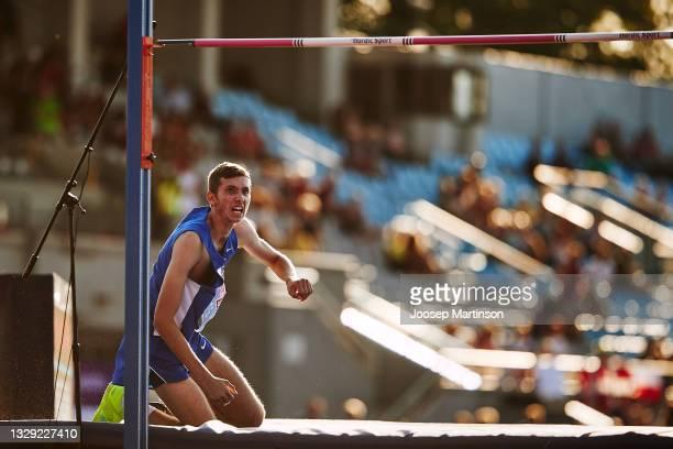 Jonathan Kapitolnik of Israel reacts in the Men's High Jump Final during European Athletics U20 Championships Day 3 at Kadriorg Stadium on July 17,...