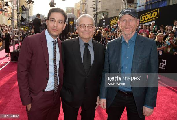 Jonathan Kasdan Lawrence Kasdan and Ron Howard attend the premiere of Disney Pictures and Lucasfilm's 'Solo A Star Wars Story' at the El Capitan...