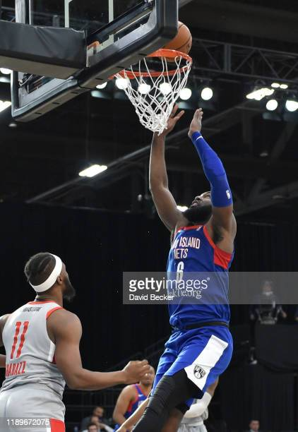 Jonathan Kasibabu of the Long Island Nets shoots the ball against the against the Rio Grande Valley Vipers during the NBA G League Winter Showcase at...