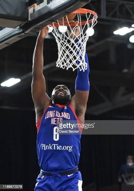 Jonathan Kasibabu of the Long Island Nets slam dunks against the Rio Grande Valley Vipers during the NBA G League Winter Showcase at Mandalay Bay...