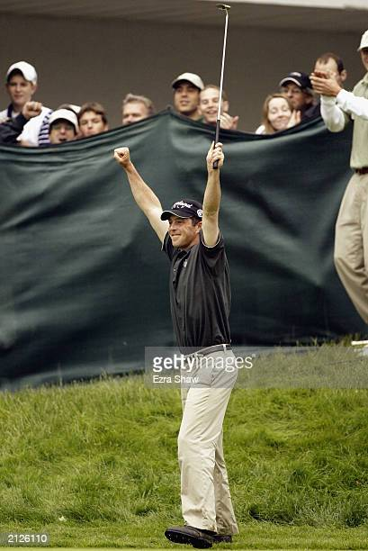 Jonathan Kaye celebrates after beating John Rollins in a playoff in the final round of the Buick Classic on June 22 2003 at the Westchester Country...