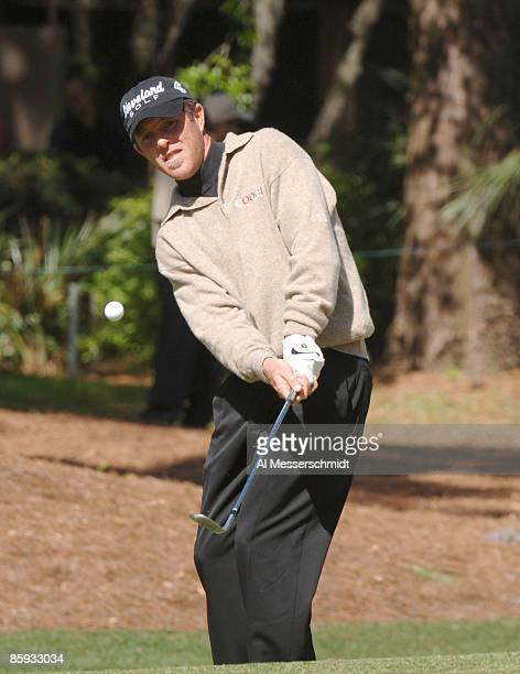 Jonathan Kaye chips into the first green during the final round of the MCI Heritage at Harbour Town Golf Links April 17 2005 at Hilton Head Island