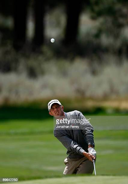 Jonathan Kaye chips on the 17th hole during the first round of the Legends RenoTahoe Open on August 6 2009 at Montreux Golf and Country Club in Reno...