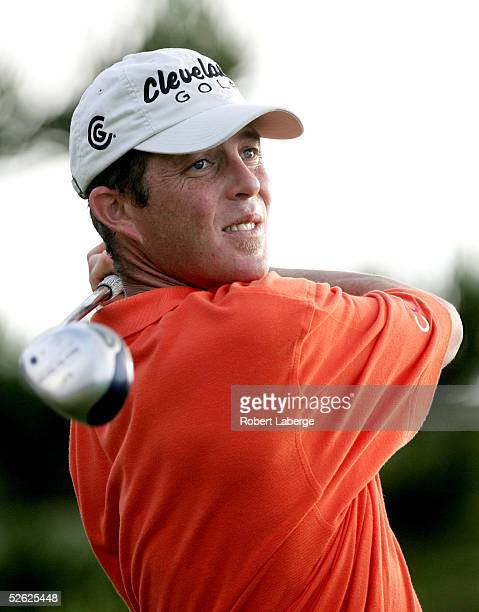 Jonathan Kaye hits a shot during the first round of the Mercedes Championships on January 6 2005 at the Plantation Course in Kapalua Maui Hawaii
