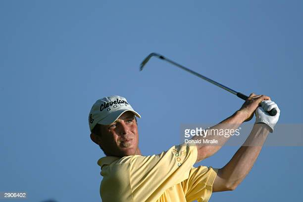 Jonathan Kaye hits a shot during the third round of the Sony Open on January 17 2004 at the Waialae Country Club in Honolulu Oahu Hawaii
