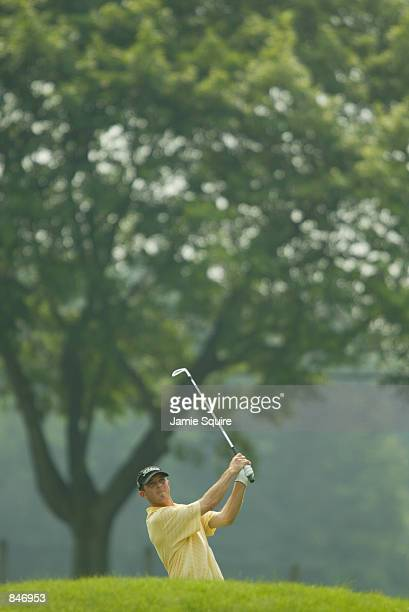 Jonathan Kaye hits his second shot on the ninth hole during the third round of the Canon Greater Hartford Open at TPC River Highlands in Cromwell...