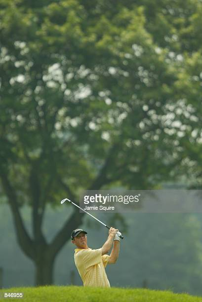Jonathan Kaye hits his second shot on the ninth hole during thes third round of the Canon Greater Hartford Open at TPC River Highlands in Cromwell...