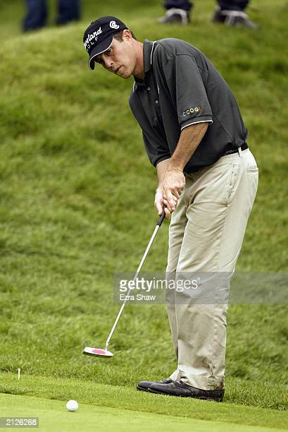 Jonathan Kaye putts during the final round of the Buick Classic on June 22 2003 at the Westchester Country Club in Harrison New York