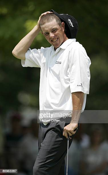 Jonathan Kaye reacts to a missed putt on the ninth hole during the second round of the Cialis Western Open on the No 4 Dubsdread course at Cog Hill...