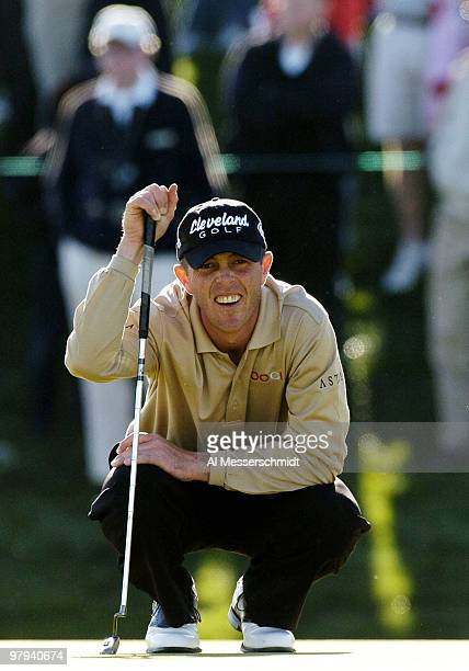 Jonathan Kaye sets to putt final round competition February 1 2004 at the 2004 FBR Open at the Tournament Players Club at Scottsdale Arizona Kaye...