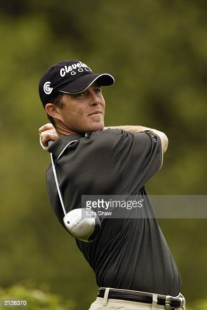 Jonathan Kaye tees off on the ninth hole during the final round of the Buick Classic on June 22 2003 at the Westchester Country Club in Harrison New...