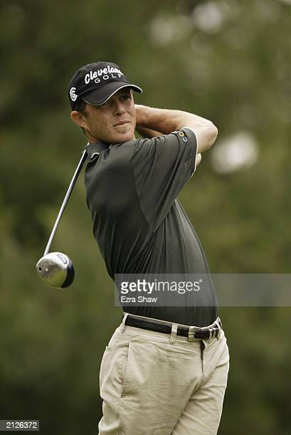 Jonathan Kaye tees off on the second hole during the final round of the Buick Classic on June 22 2003 at the Westchester Country Club in Harrison New...