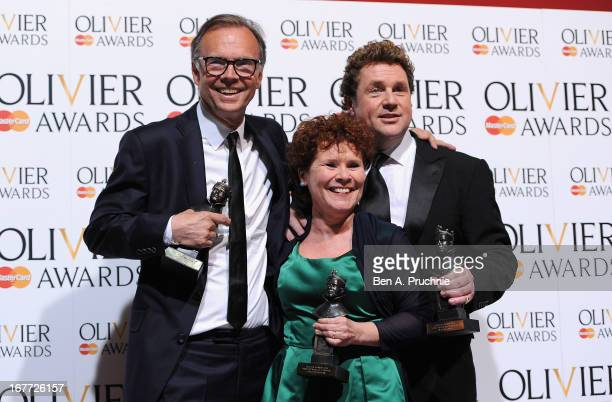 Jonathan Kent with his Best Musical Revival award Imelda Staunton with ther Best Actress in a Musical award and Michael Ball with his Best Actor in a...