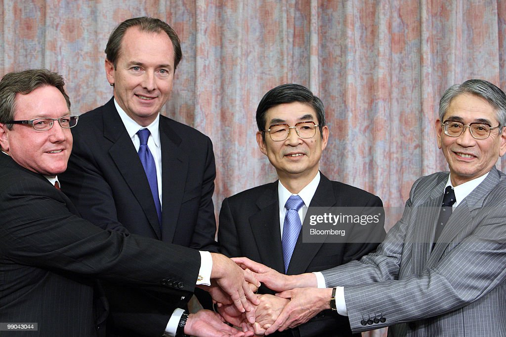 Mitsubishi UFJ Financial Group And Morgan Stanley CEOs Hold News Conference : Nachrichtenfoto