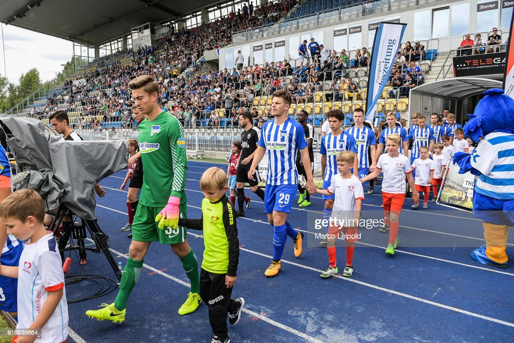 Jonathan Klinsmann, Florian Baak, Maurice Covic, Julius Kade, Sinan Kurt,Peter Pekarik, Valentin Stocker and Fabian Lustenberger of Hertha BSC before the test match between Carl-Zeiss Jena and Hertha BSC on july 16, 2017 in Jena, Germany.