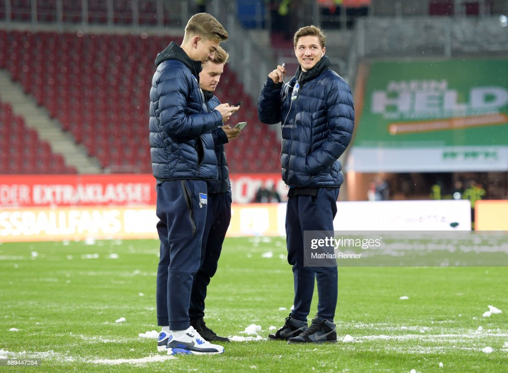 Jonathan Klinsmann, Maximilian Mittelstaedt and Niklas Stark of Hertha BSC before the game between dem FC Augsburg and Hertha BSC on december 10, 2017 in Augsburg, Germany.