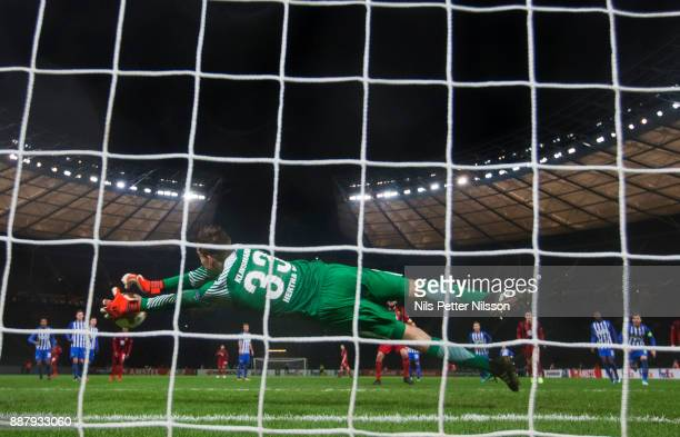 Jonathan Klinsmann of Herta Berlin SC makes a save on a penalty shot by Brwa Nouri of Ostersunds FK during the UEFA Europa League group J match...
