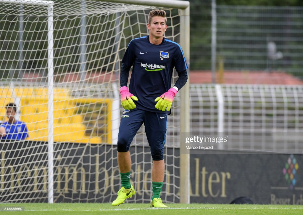 Jonathan Klinsmann of Hertha BSC before the test match between Carl-Zeiss Jena and Hertha BSC on july 16, 2017 in Jena, Germany.