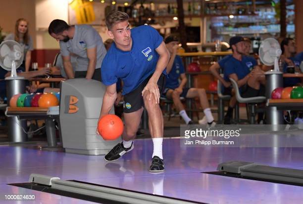 Jonathan Klinsmann of Hertha BSC bowls during the training camp at the HotSpot Bowling Neuruppin on july 17 2018 in Neuruppin Germany