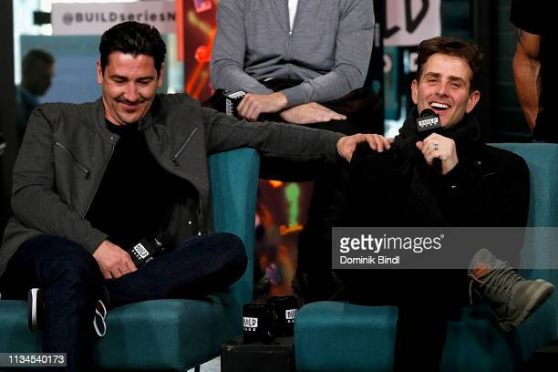 Jonathan Knight and Joey McIntyre attend the Build Series to discuss 'Hangin' Tough' reissue at Build Studio on March 08 2019 in New York City