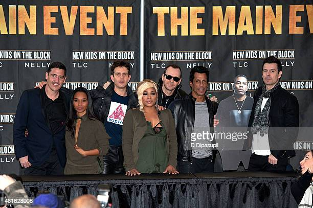 Jonathan Knight Chili Joey McIntyre TBoz Donnie Wahlberg Danny Wood and Jordan Knight attend the New Kids On The Block Press Conference at Madison...