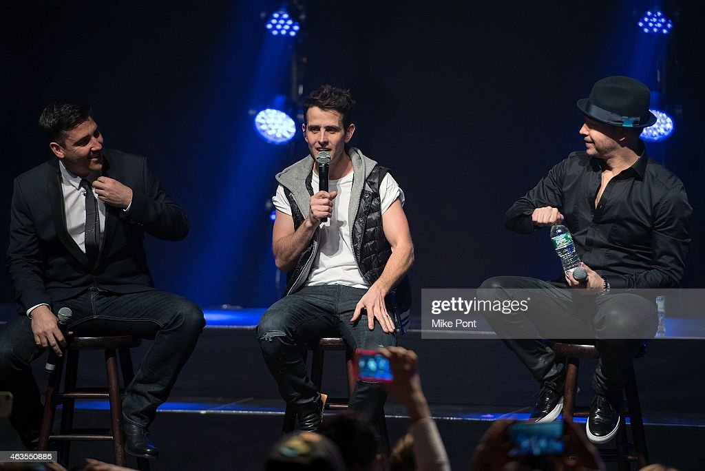 Jonathan Knight, Joey McIntyre, and Donnie Wahlberg of the New Kids On The Block perform at the Gramercy Theatre on February 15, 2015 in New York City.