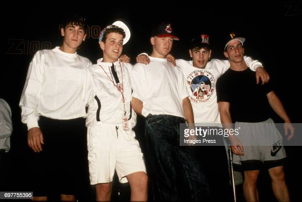 Jonathan Knight Joey McIntyre Donnie Wahlberg Jordan Knight and Danny Wood at a New Kids On The Block promotional appearance circa 1989 in New York...