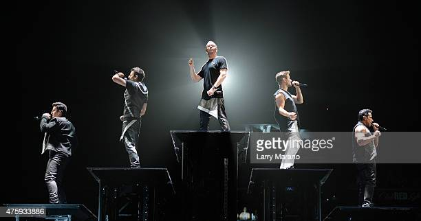 Jonathan Knight Jordan Knight Donnie Wahlberg Joey McIntyre and Danny Wood of New Kids On The Block perform at BBT Center on June 4 2015 in Sunrise...