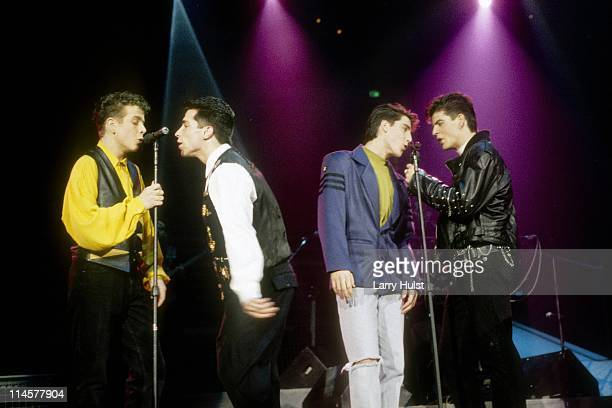 Jonathan Knight Jordan Knight Joey McIntyre and Danny Wood performing with 'New Kids On The Block' at Arco Arena in Sacramento California on January...