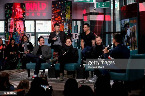 Jonathan Knight Jordan Knight Joey McIntyre Danny Wood and Donnie Wahlberg attend the Build Series to discuss 'Hangin' Tough' reissue at Build Studio...