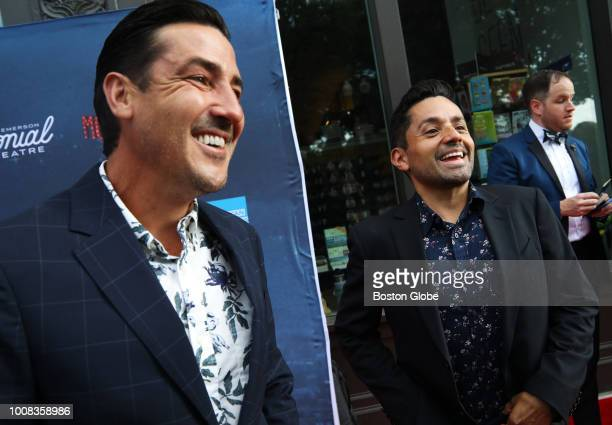 Jonathan Knight left laughs with fiancé Harley Rodriguez on the red carpet at the Emerson Colonial Theatre in Boston on July 29 2018 The theater...