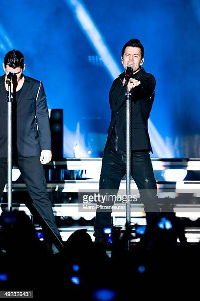 Jonathan Knight of American Boygroup New Kids On The Block performs during their 'Let's get Intimate Tour 2014' at the Palladium on May 19 2014 in...
