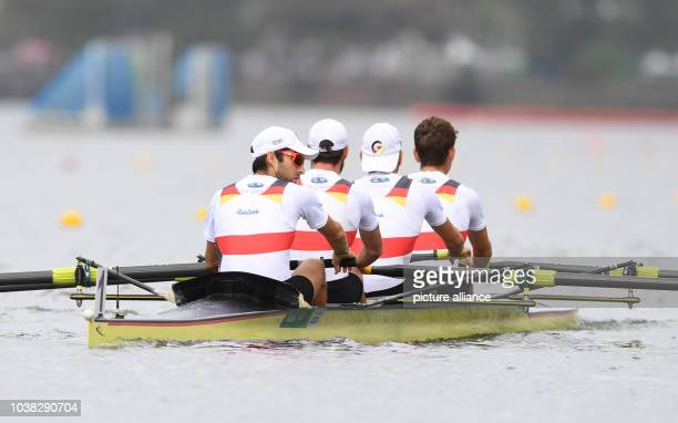 Jonathan Koch, Lars Wichert, Tobias Franzmann, Lucas Schaefer of Germany in action during the LWT Men's Four Repechage of the Rowing events during...