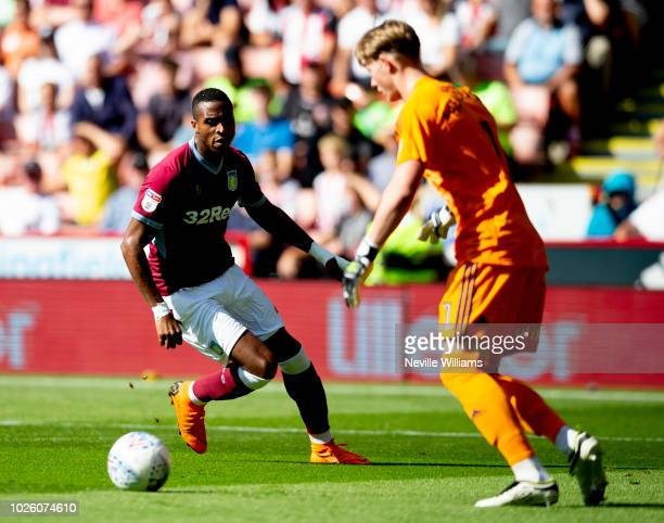 Jonathan Kodgia of Aston Villa during the Sky Bet Championship match between Sheffield United and Aston Villa at Bramall Lane on September 01 2018 in...