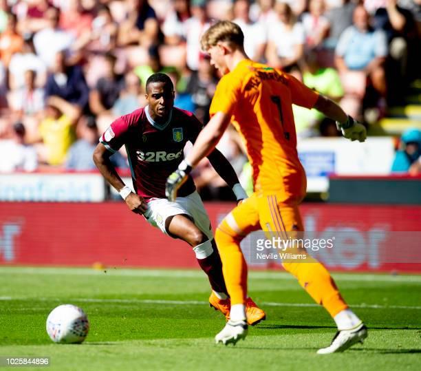 Jonathan Kodgia of Aston Villa scores for Aston Villa during the Sky Bet Championship match between Sheffield United and Aston Villa at Bramall Lane...
