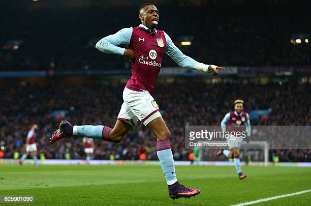 Jonathan Kodija of Aston Villa celebrates scoring his sides second goal of the game during the Sky Bet Championship match between Aston Villa and...