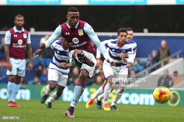 Jonathan Kodija of Aston Villa misses from the penalty spot during the Sky Bet Championship match between Queens Park Rangers and Aston Villa at...
